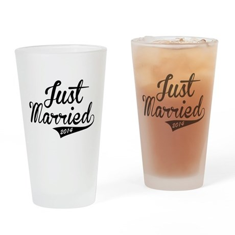 Just Married 2014 Drinking Glass