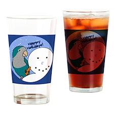 snowman_quaker_blue Drinking Glass