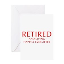 retired-and-living-happily-OPT-RED Greeting Card