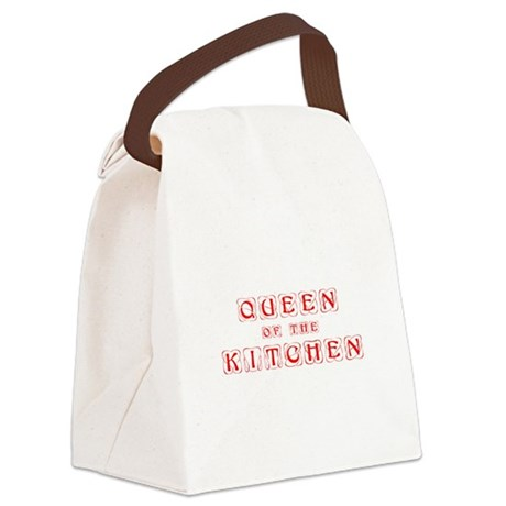 queen-of-kitchen-kon-red Canvas Lunch Bag