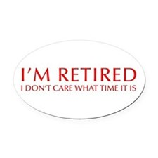 Im-retired-OPT-RED Oval Car Magnet
