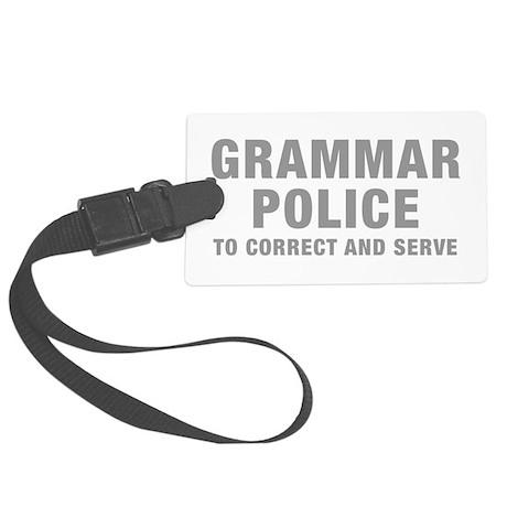 grammar-police-hel-gray Luggage Tag