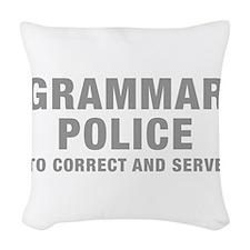 grammar-police-hel-gray Woven Throw Pillow