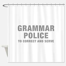 grammar-police-hel-gray Shower Curtain