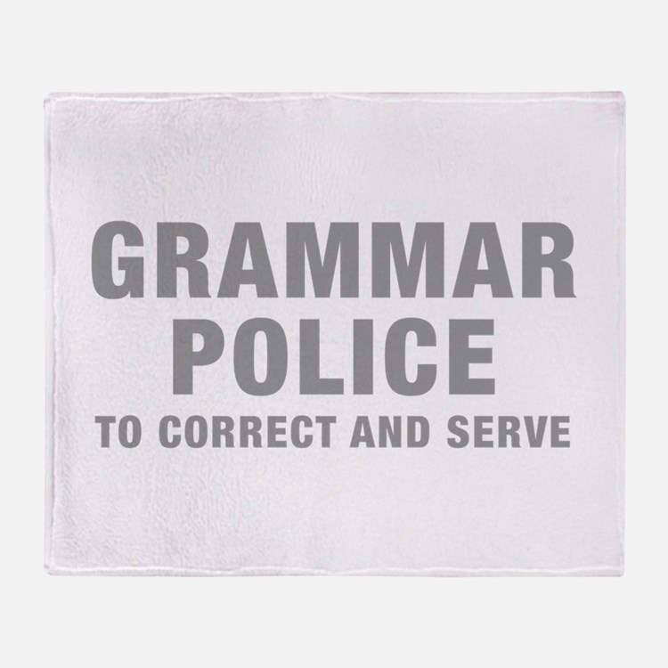 grammar-police-hel-gray Throw Blanket