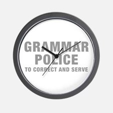 grammar-police-hel-gray Wall Clock
