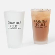 grammar-police-hel-gray Drinking Glass
