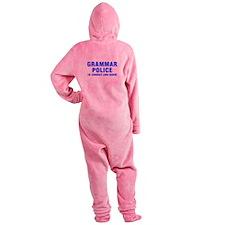 grammar-police-hel-blue Footed Pajamas
