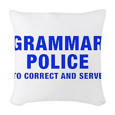 grammar-police-hel-blue Woven Throw Pillow