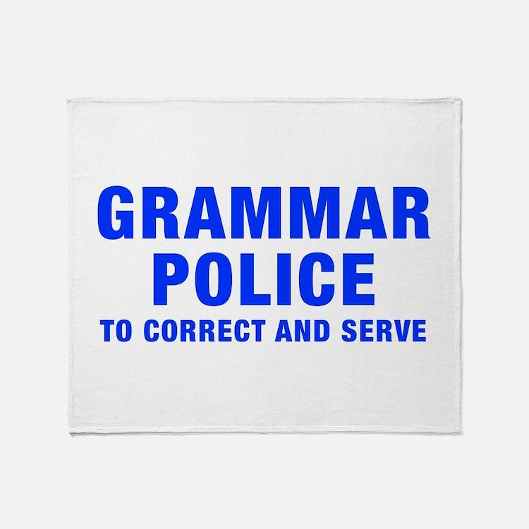 grammar-police-hel-blue Throw Blanket