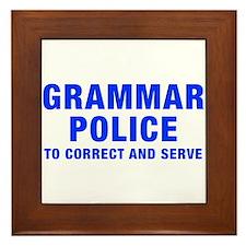 grammar-police-hel-blue Framed Tile