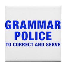 grammar-police-hel-blue Tile Coaster