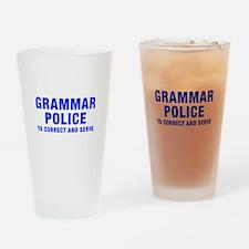 grammar-police-hel-blue Drinking Glass