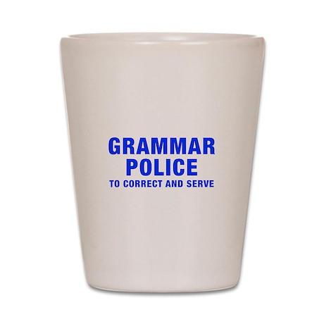 grammar-police-hel-blue Shot Glass