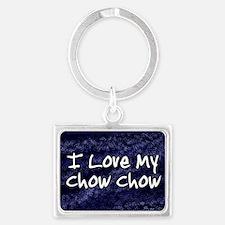 funklove_oval_chowchow Landscape Keychain
