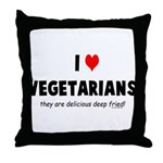 I LOVE [HEART] VEGETARIANS - Throw Pillow