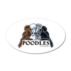 Poodles 20x12 Oval Wall Decal