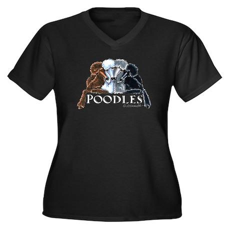 Poodles Women's Plus Size V-Neck Dark T-Shirt