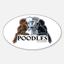 Poodles Sticker (Oval)