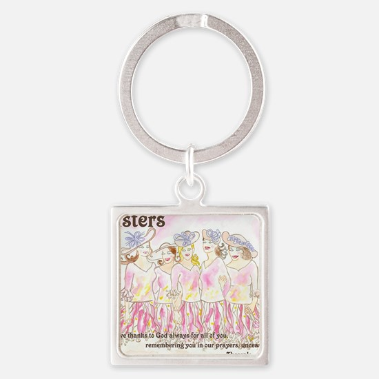Sisters Square Keychain