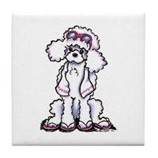 Poodle Beach Bum Tile Coaster