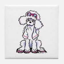 Poodle Beach Bum Tile Coaster