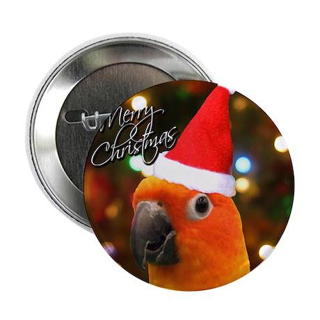 """3-sunconure_santa_ornament 2.25"""" Button"""