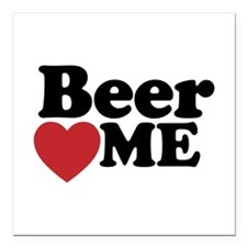 "Beer Loves Me Square Car Magnet 3"" x 3"""