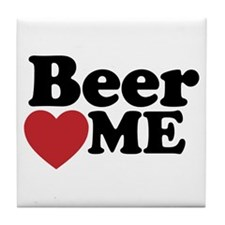 Beer Loves Me Tile Coaster