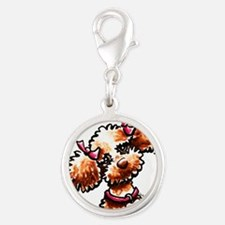 Girly Apricot Poodle Silver Round Charm