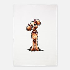 Girly Apricot Poodle 5'x7'Area Rug