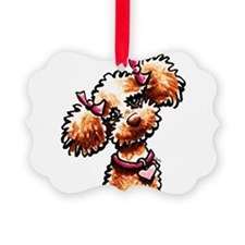 Girly Apricot Poodle Ornament