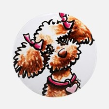 Girly Apricot Poodle Ornament (Round)
