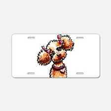 Girly Apricot Poodle Aluminum License Plate
