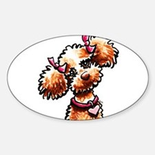 Girly Apricot Poodle Sticker (Oval)