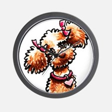 Girly Apricot Poodle Wall Clock