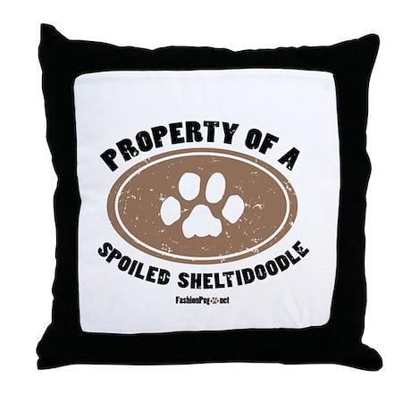 Sheltidoodle dog Throw Pillow