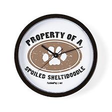 Sheltidoodle dog Wall Clock