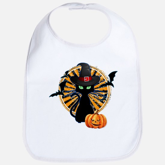 Black Cat Halloween Baby Bib