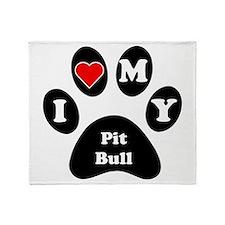 I Heart My Pit Bull Throw Blanket