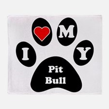 I Heart My Pit Bull Throw Blanket