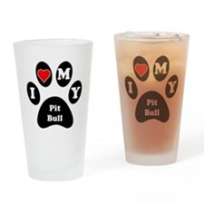 I Heart My Pit Bull Drinking Glass