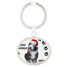ornament_puppyroo Oval Keychain