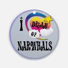 I Dream of narwhals Round Ornament