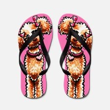 Girly Apricot Poodle Hot Pink Flip Flops