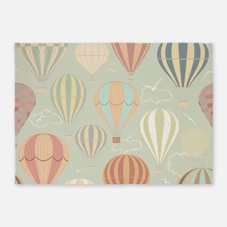 Vintage Hot Air Balloons 5'x7'Area Rug