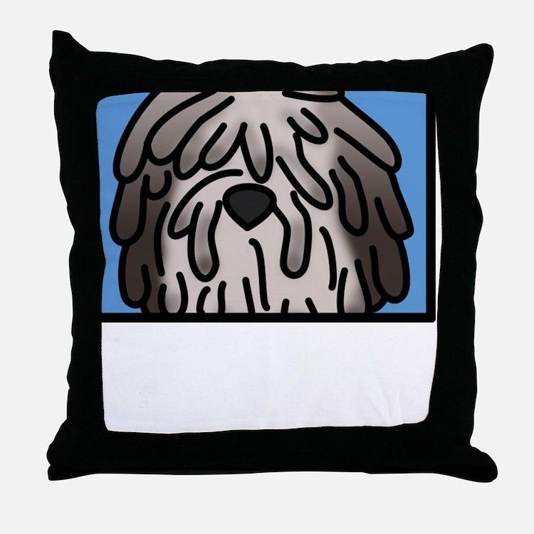 anime_bergamasco_fawn_blk Throw Pillow