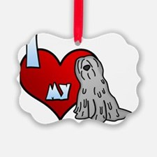 iheartmy_bergamasco_grey Ornament