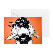 Poodle Pirate Orange Greeting Card