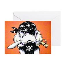 Poodle Pirate Orange Greeting Cards (Pk of 10)